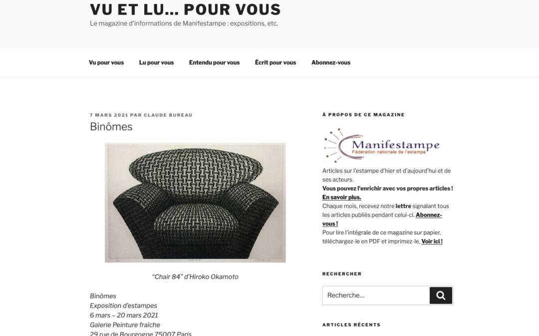article paru sur le site de Manifestampe pour l'exposition Binômes